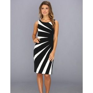 Adrianna Papell Color Block Sheath Dress Navy